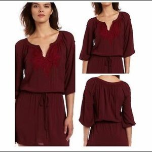 Lucky Brand Laszlo Embroidered M Dress Maroon